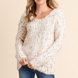 NWOT Confetti Dot v-neck sweater, Small